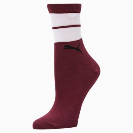 Women's Sheer Stripes Crew Socks [1 Pair], BURGUNDY, small